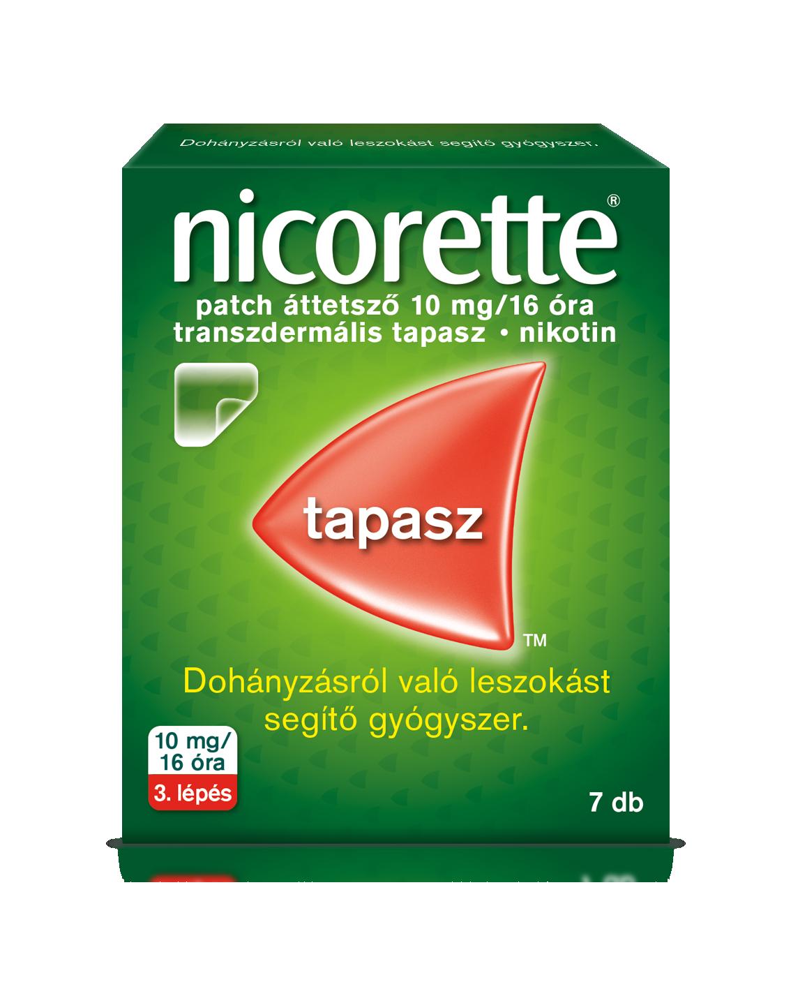 Nicorette patch áttetsző 10 mg/16 óra transz.tap. 7x