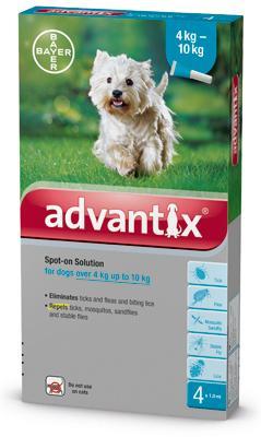 Advantix spot on 1,0ml 4-10kg között kutya a.u.v. 4x
