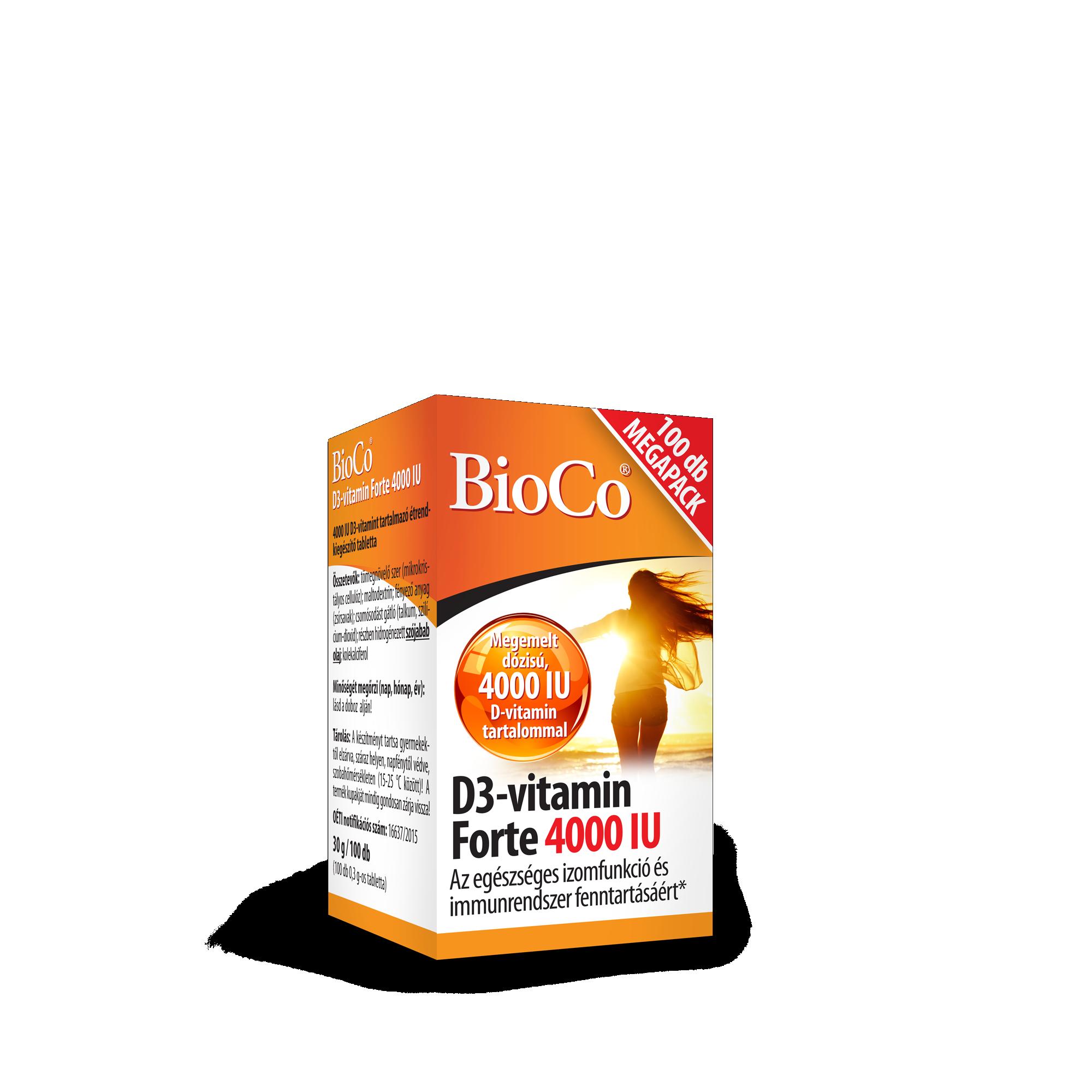 BioCo D3-vitamin 4000 IU forte tabletta 100x