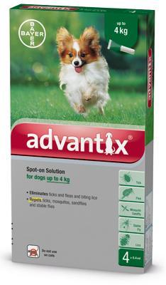 Advantix spot on 0,4ml 4kg alatti kutya a.u.v. 4x