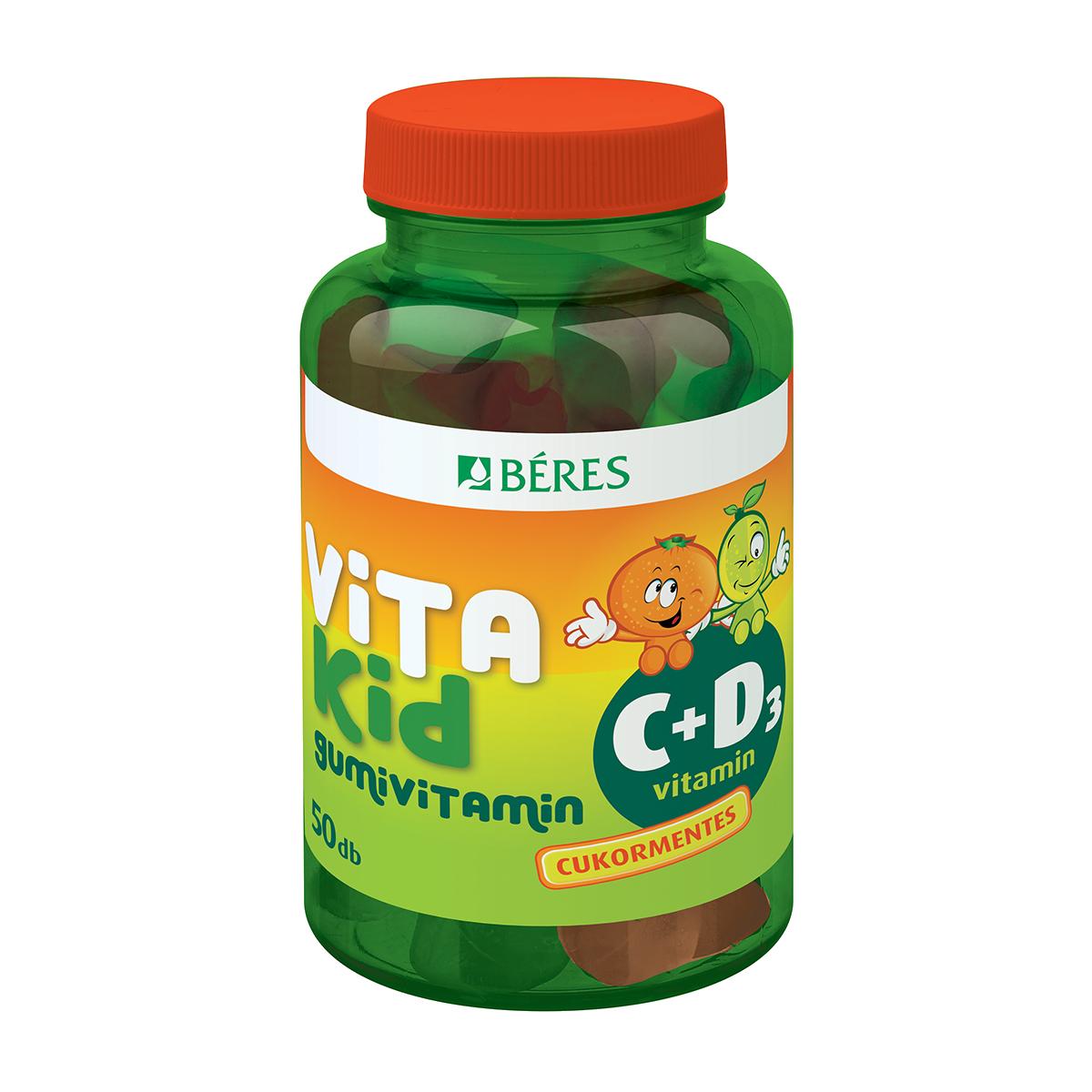 Béres Vitakid C+D3 gumivitamin gumitabletta 50x