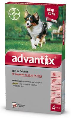 Advantix spot on 2,5ml 10-25kg között kutya a.u.v. 4x