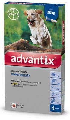 Advantix spot on 4,0ml 25kg felett kutya a.u.v. 4x