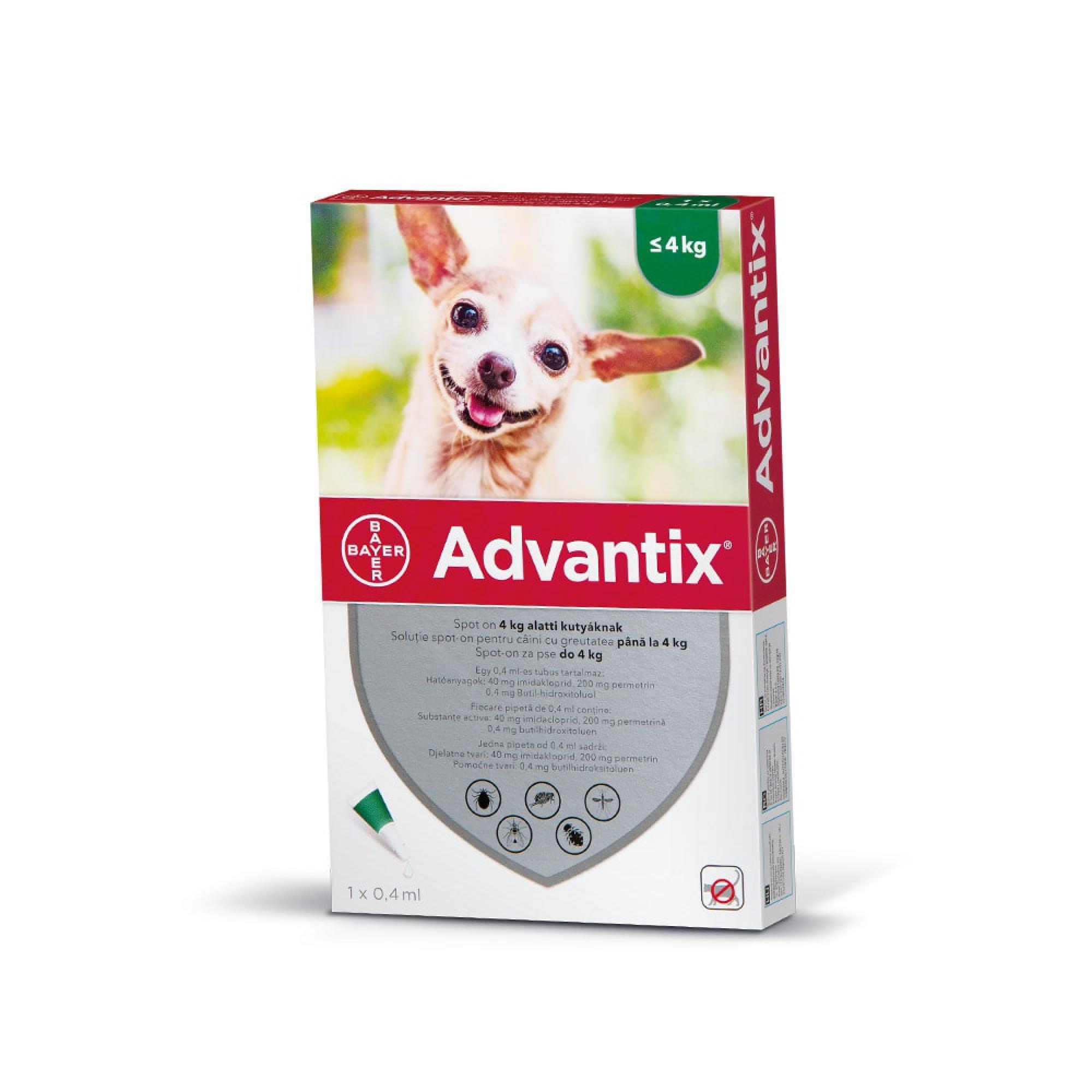Advantix spot on 0,4ml 4kg alatti kutya a.u.v. 1x