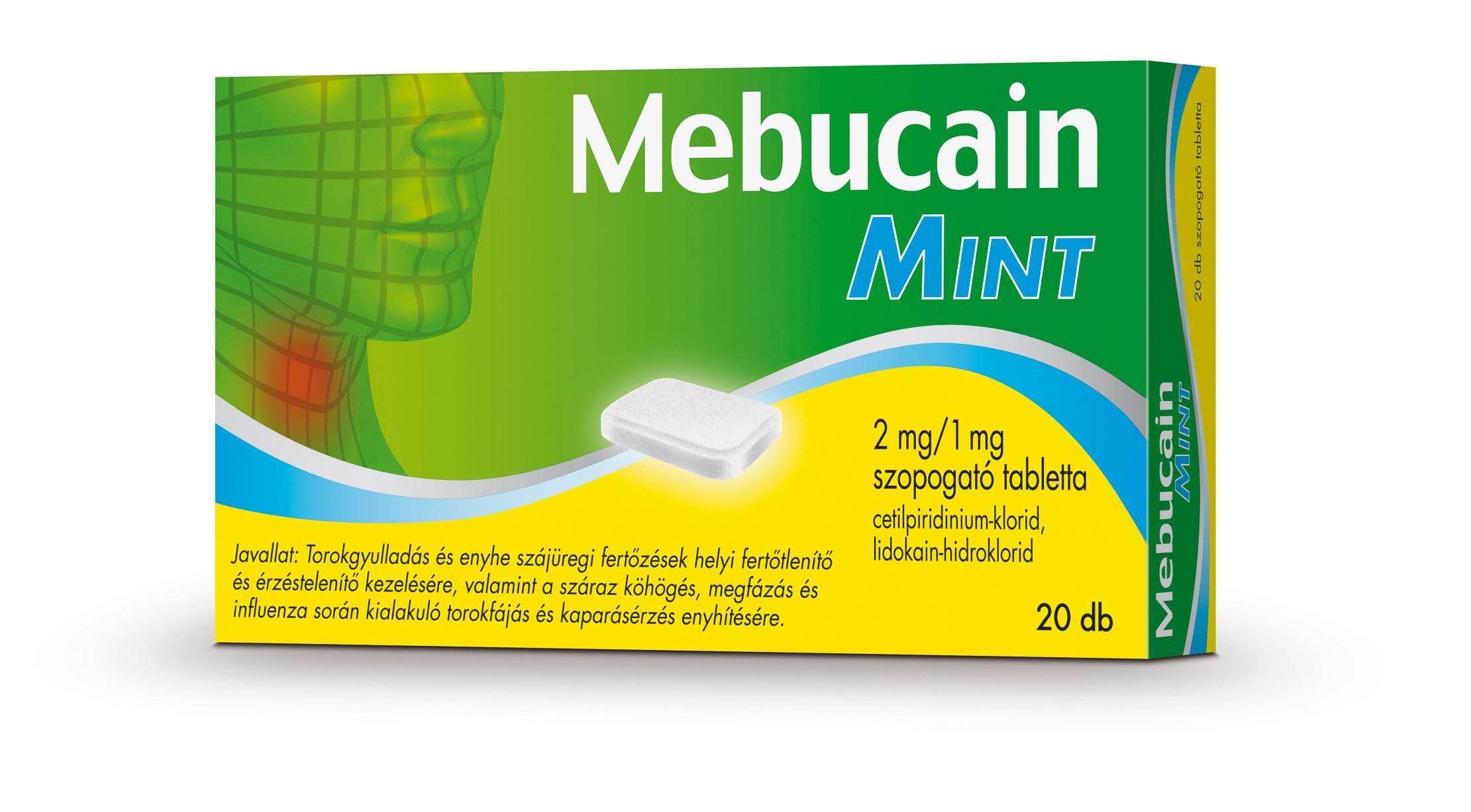 Mebucain Mint 2 mg/1 mg szopogató tabletta 20x