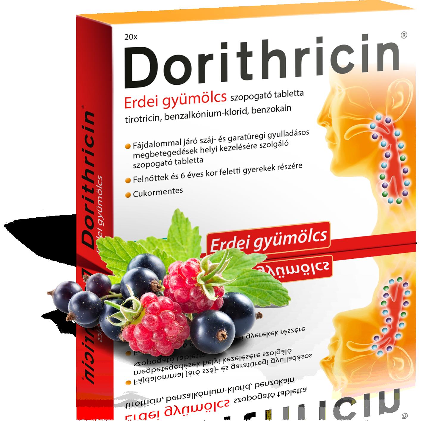 Dorithricin erdei gyümölcs szopogató tabletta 20x