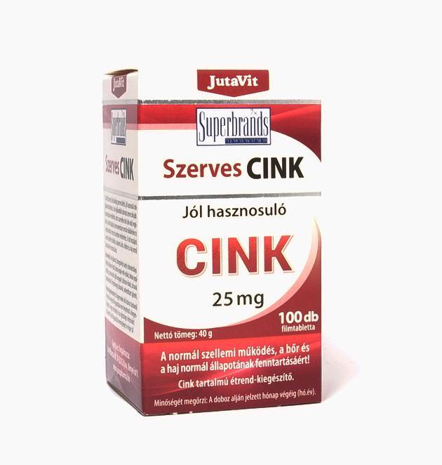 JutaVit Szerves Cink 25 mg tabletta 100x