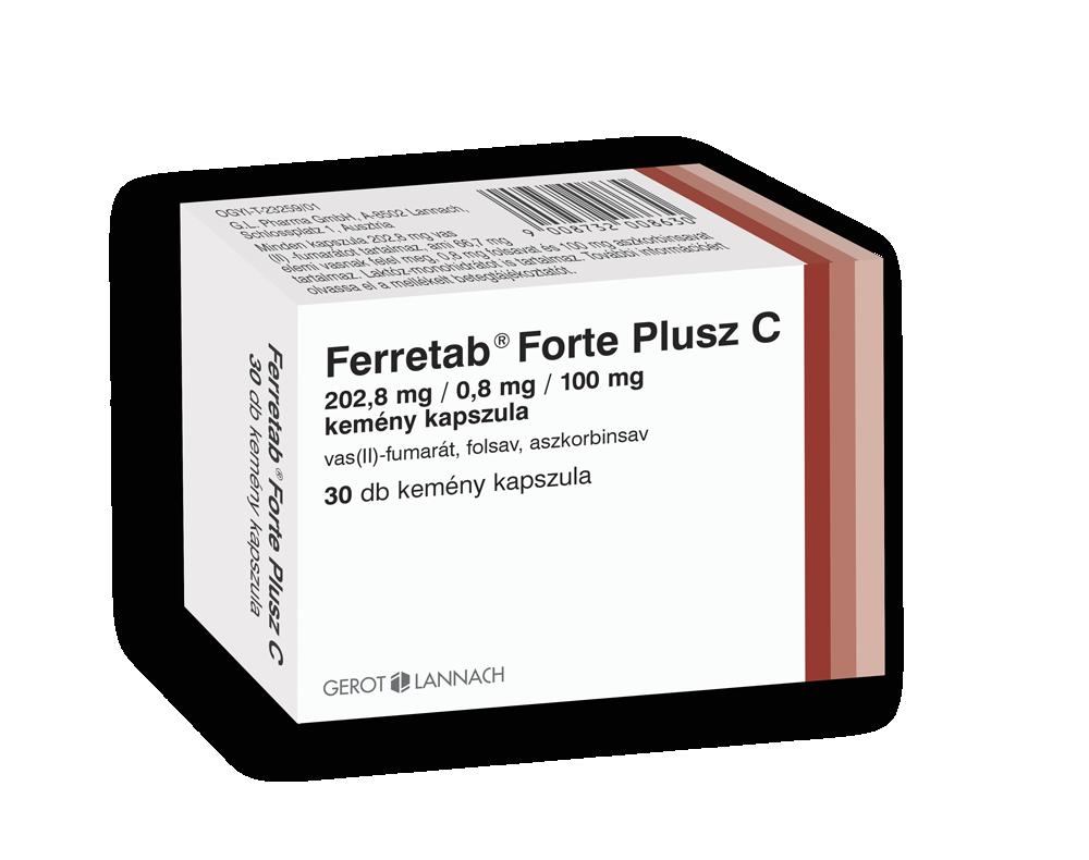 Ferretab Forte plusz C 202,8mg/0,8mg/100mg kapsz. 30x